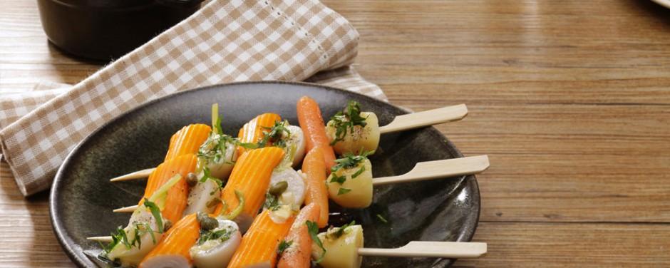 Mini brochettes surimi façon navarin sauce gribiche