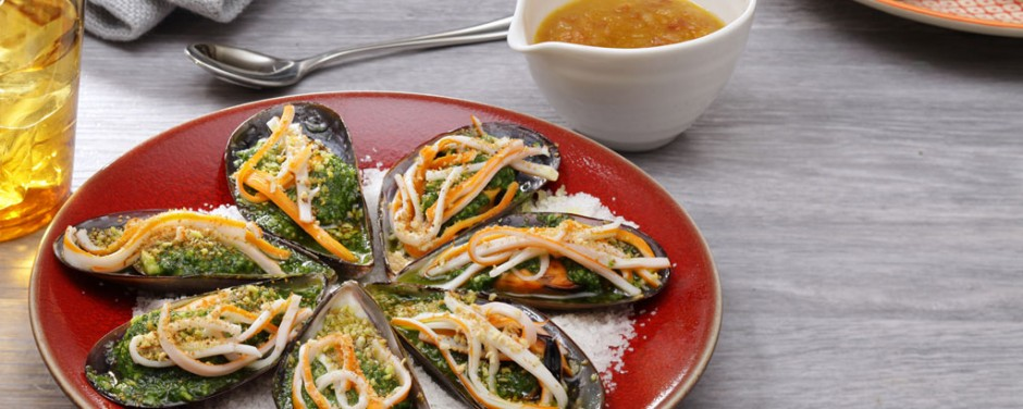 Moules farcies au surimi, sauce au Picon