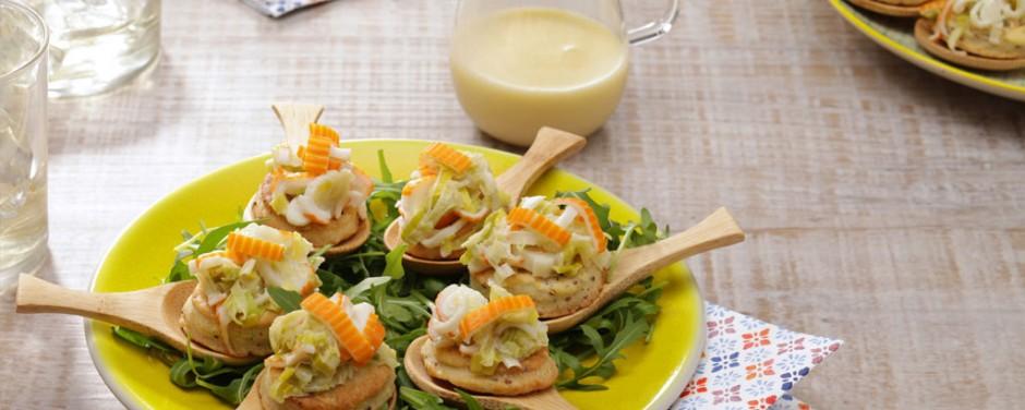 Biscuits à la fondue surimi poireaux et beurre blanc nantais